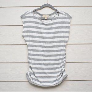 MICHAEL KORS | Gray & White Stripe Blouse